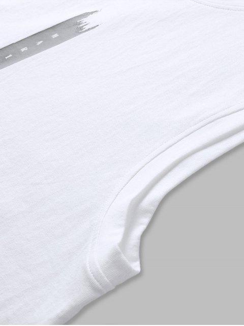 Canotta in Cotone con Stampa di Lettere - Bianca 2XL Mobile