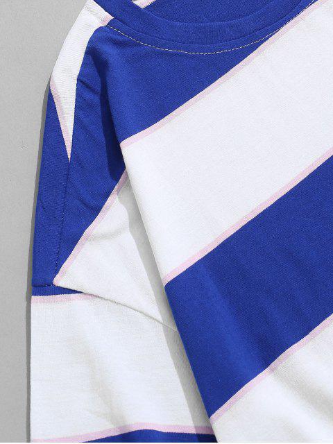 Kurzärmliges Farbblock Gestreiftes T-Shirt - Dunkles Himmelblau 4XL Mobile