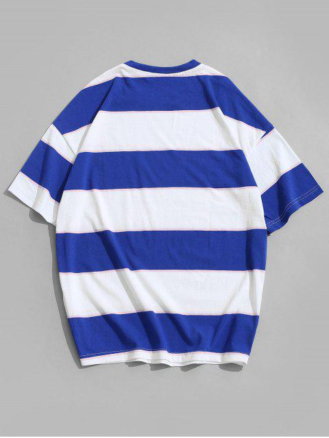 Short Sleeves Colorblock Striped T-shirt - ديب سكاي بلو 4XL Mobile