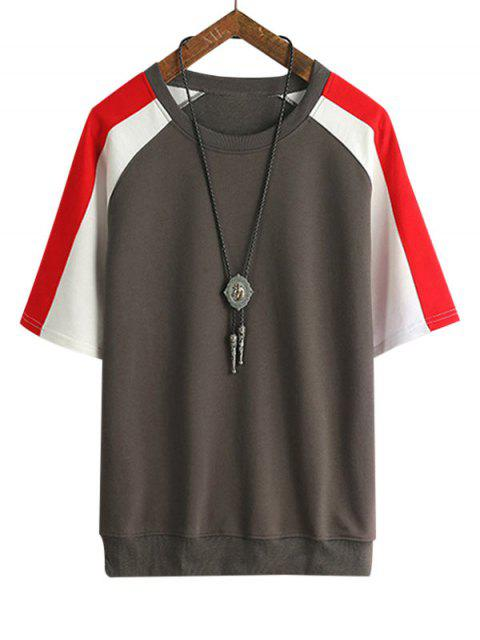 T-Shirt a Maniche Raglan con Pannello a Blocchi di Colore - Bruno Grigio 3XL Mobile