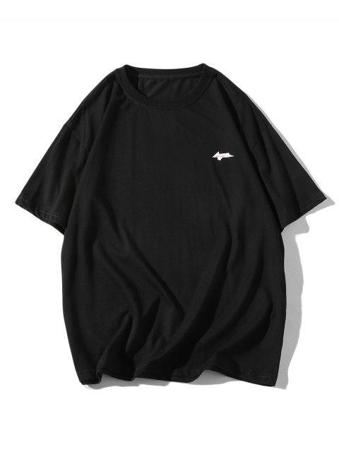 Cartoon Grafikdruck Basic T-Shirt - Schwarz 4XL Mobile
