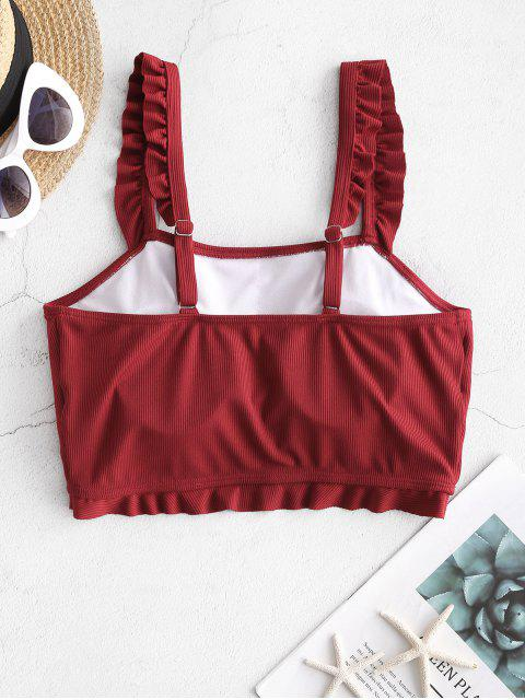 fancy ZAFUL Frilled Ribbed Bikini Top - RED WINE S Mobile