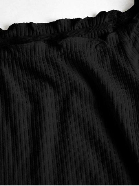 fancy ZAFUL Off Shoulder Ribbed Knotted Frilled Crop Tee - BLACK S Mobile