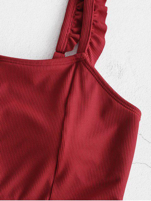 ZAFUL Gerippte Tankini Badebekleidung mit Rüschen - Roter Wein M Mobile