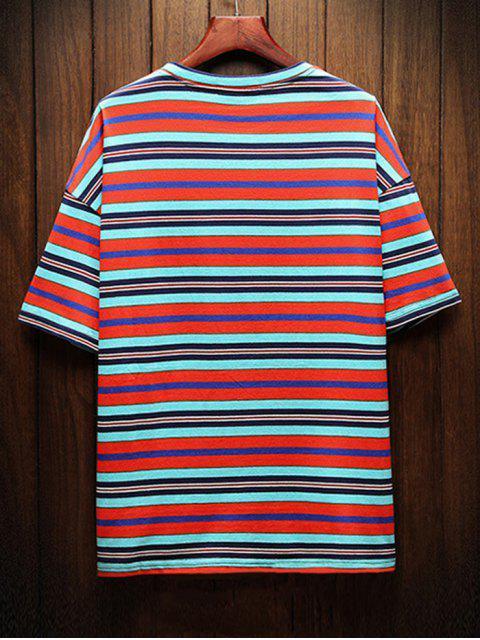 T-shirt às Riscas Casual com Impressão Listrada - Laranja 4XL Mobile