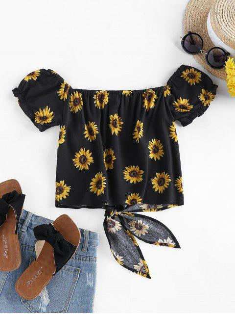 outfit ZAFUL Sunflower Tie Hem Off Shoulder Blouse - BLACK S Mobile