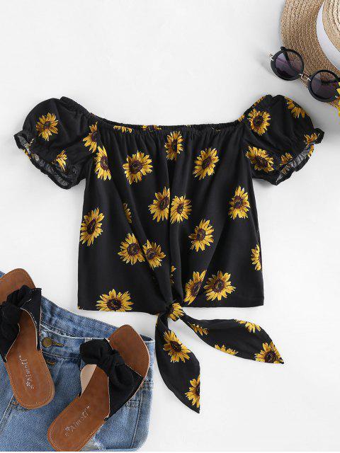 affordable ZAFUL Sunflower Tie Hem Off Shoulder Blouse - BLACK M Mobile