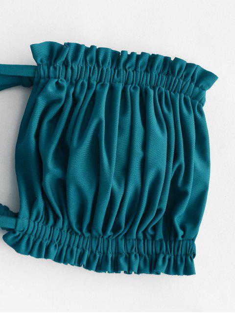 unique ZAFUL Tropical Print Braided Strap Ruffled Bandeau Bikini Swimwear - PEACOCK BLUE S Mobile