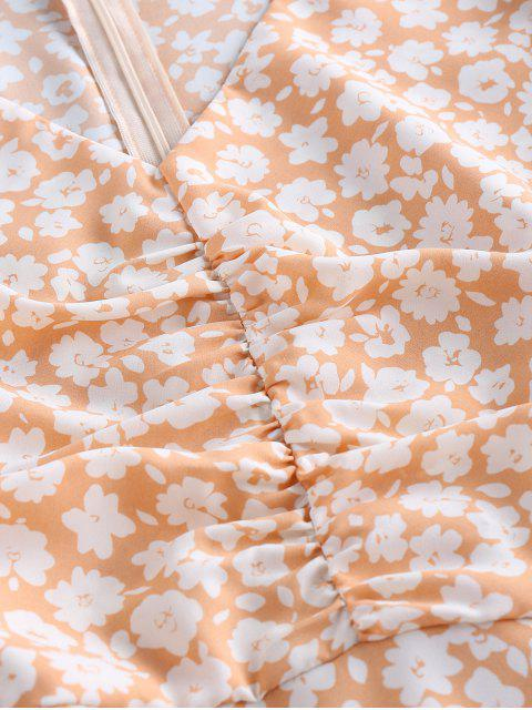 shops ZAFUL Ditsy Print Ruched Butterfly Print Mermaid Dress - LIGHT SALMON S Mobile