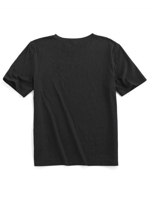 ZAFUL Carta de Gráfica Camiseta Básica - Preto 2XL Mobile