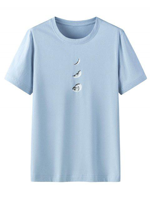 chic Moon Pattern Casual Short Sleeves T-shirt - BLUE GRAY 4XL Mobile