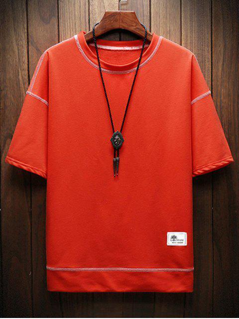 Camiseta Mangas Curtas com Dois Tons - Cor de Laranja de Halloween L Mobile