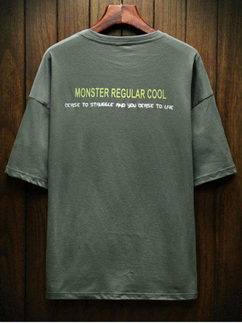 T-Shirt con Grafica di Dinosauro e Lettere - Verde Bruno Chiaro XS Mobile