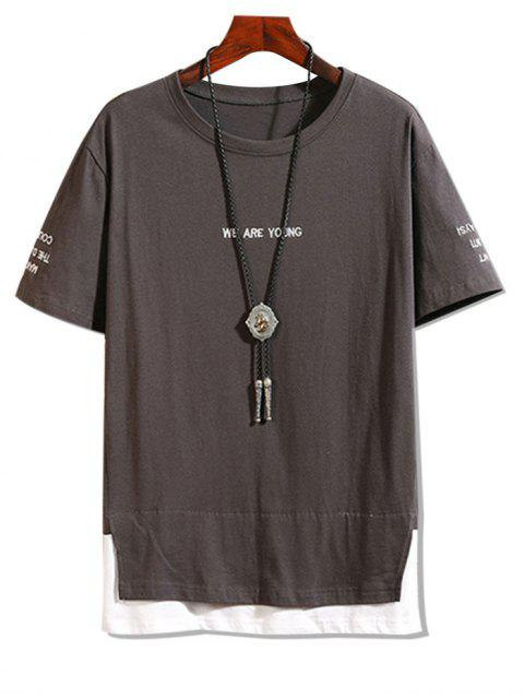 Letter Embroidered Contrast Faux Twinset T-shirt - الرماد رمادي 4XL Mobile