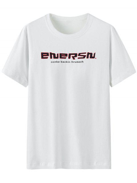 Camisa de Algodão curto com impresso gráfico - Branco L Mobile