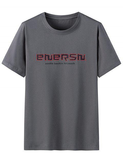 T-shirt Graphique Imprimé en Coton à Manches Courtes - Gris Carbone 3XL Mobile