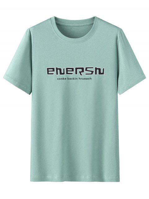 T-shirt Graphique Imprimé en Coton à Manches Courtes - Turquoise Moyenne  2XL Mobile