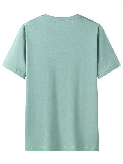 T-shirt Graphique Imprimé en Coton à Manches Courtes - Turquoise Moyenne  3XL Mobile