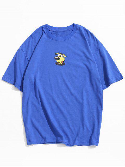 T-shirt Motif de Chien Dessin Animé à Manches Courtes - Bleu XL Mobile