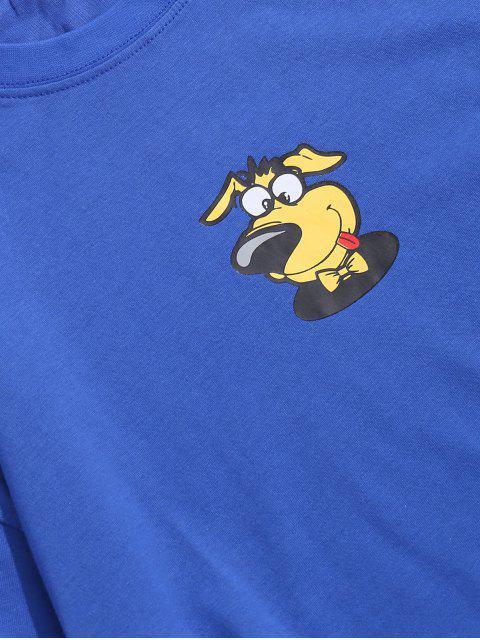 T-Shirt Stampata a Cane con Maniche Corte - Blu S Mobile