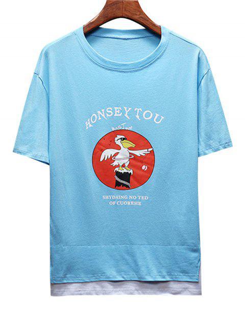 T-shirt Lettre Graphique Bicolore à Manches Courtes - Bleu Ciel Léger  S Mobile