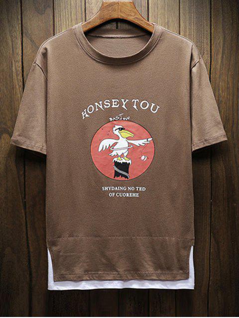 T-shirt Lettre Graphique Bicolore à Manches Courtes - Brun Ours XS Mobile