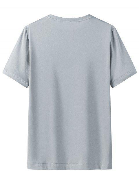 T-shirt DécontractéChinoisImprimé en Coton - Nuage Gris 4XL Mobile