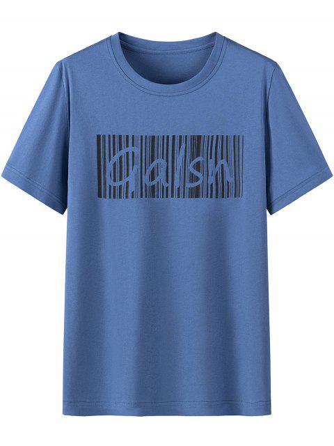 women's Letter Print Cotton Short Sleeves T-shirt - BLUE IVY 4XL Mobile