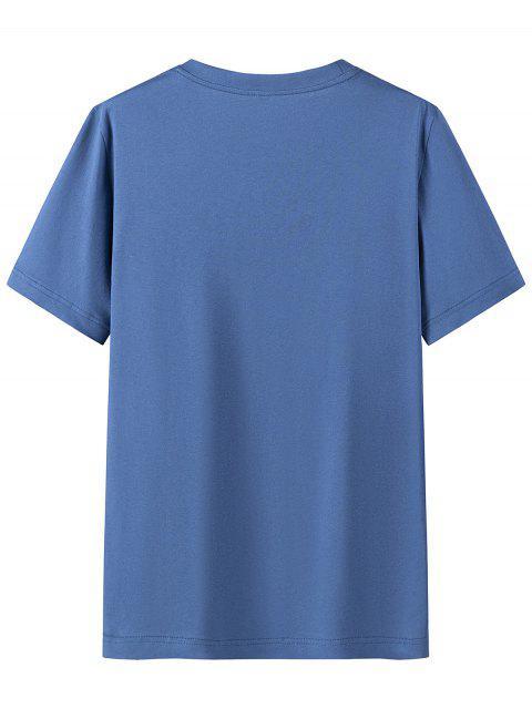 T-shirt de Mangas Curtas Padrão de Letras - Hera Azul 4XL Mobile