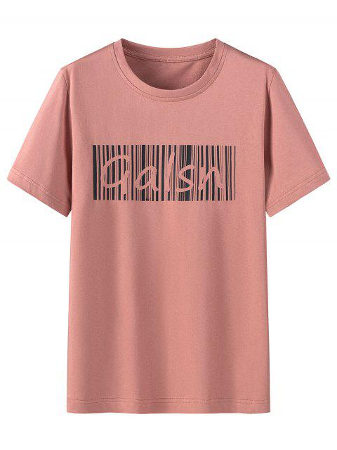 hot Letter Print Cotton Short Sleeves T-shirt - WATERMELON PINK 4XL Mobile