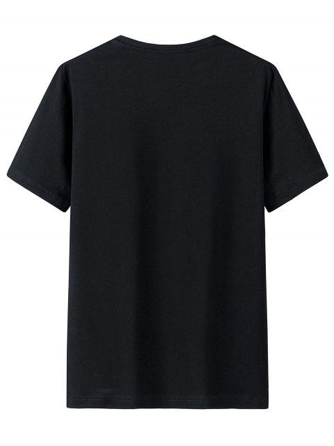 Garrafa de Mangas Curtas Carta Impresso T-shirt - Preto 2XL Mobile