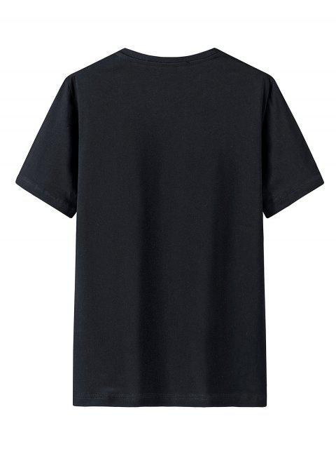 T-Shirt Grafica in Cotone con Colletto Tondo - Nero M Mobile