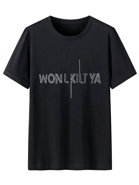 T-Shirt Grafica in Cotone con Colletto Tondo - Nero 3XL Mobile