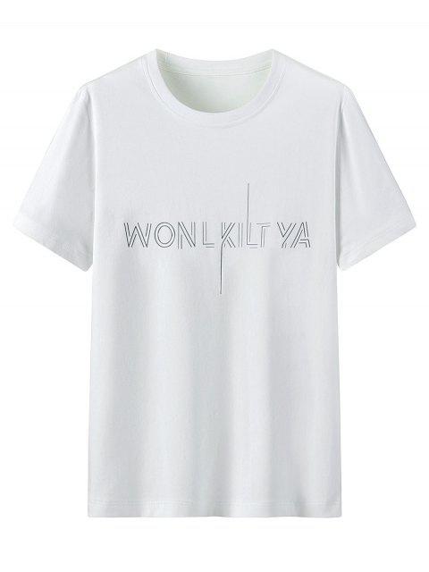 T-Shirt Grafica in Cotone con Colletto Tondo - Bianca L Mobile