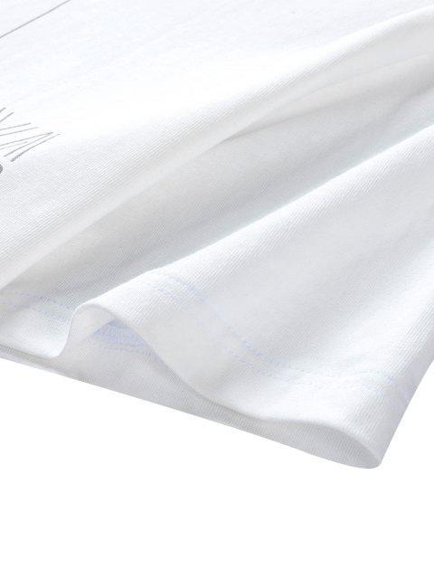 T-Shirt Grafica in Cotone con Colletto Tondo - Bianca 3XL Mobile