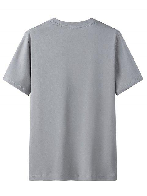 T-Shirt Grafica in Cotone con Colletto Tondo - Nuvola Grigia 3XL Mobile