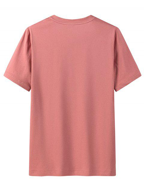 latest Graphic Print Round Neck Cotton T-shirt - WATERMELON PINK 4XL Mobile