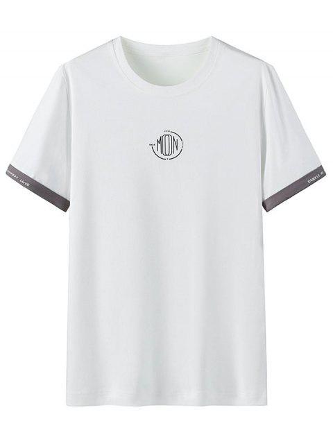 T-shirt Casual gola circular com estampa gráfica - Branco XL Mobile