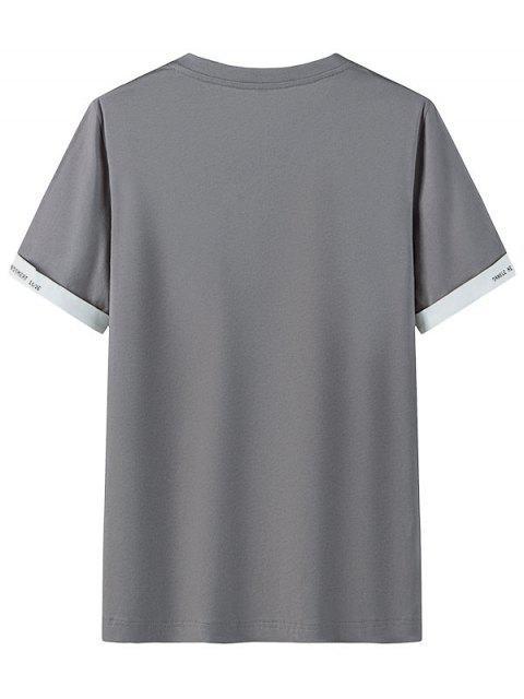 T-shirt Casual gola circular com estampa gráfica - Cinzento Escuro 3XL Mobile