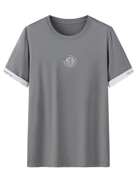 T-shirt Casual gola circular com estampa gráfica - Cinzento Escuro 4XL Mobile
