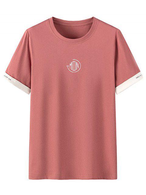 T-shirt Casual gola circular com estampa gráfica - Castanha Vermelha 4XL Mobile