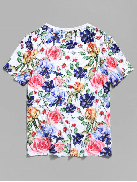 Flower Printed Vacation T-shirt - Branco 3XL Mobile