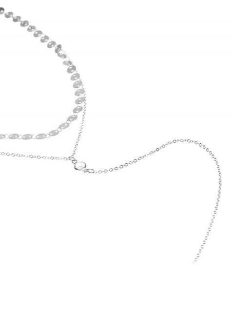 lady Double Layered Disc Choker Necklace - SILVER  Mobile