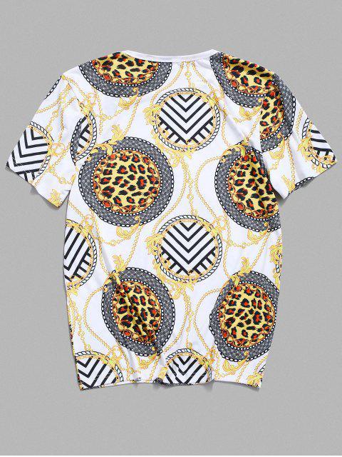 Baroque Print Round Neck T-shirt - Branco 2XL Mobile