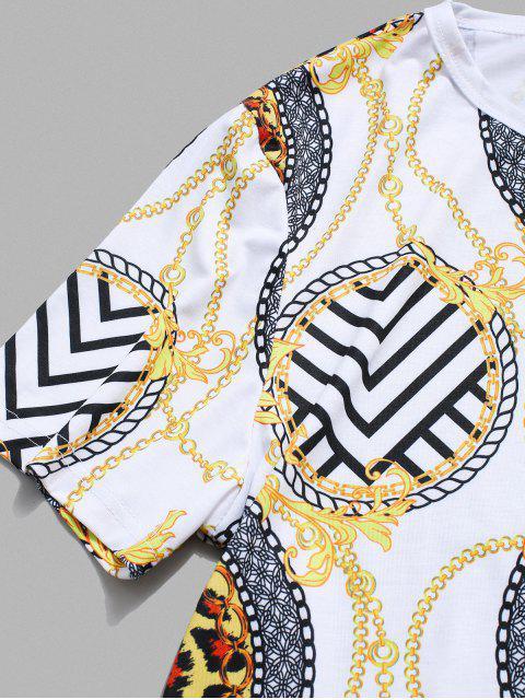Baroque Print Round Neck T-shirt - Branco L Mobile