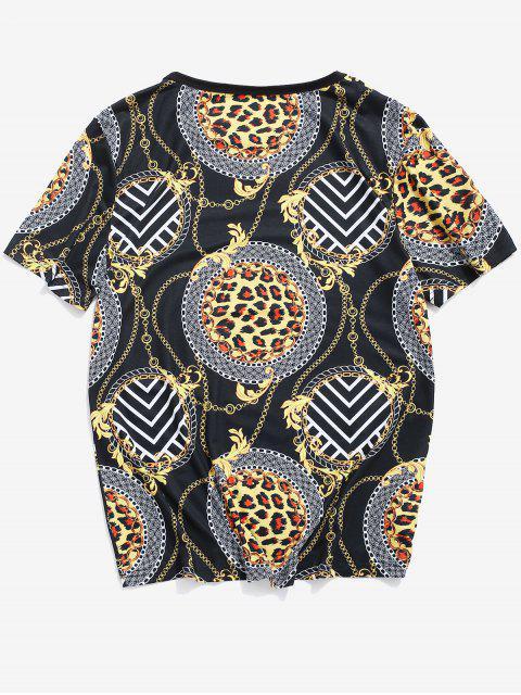 Baroque Print Round Neck T-shirt - Schwarz 2XL Mobile