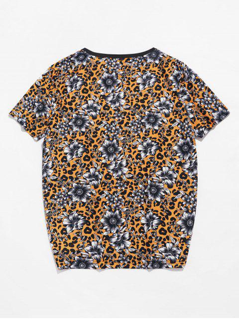 Leopard Floral Print Crew Neck T Shirt - Abelha Amarela 2XL Mobile