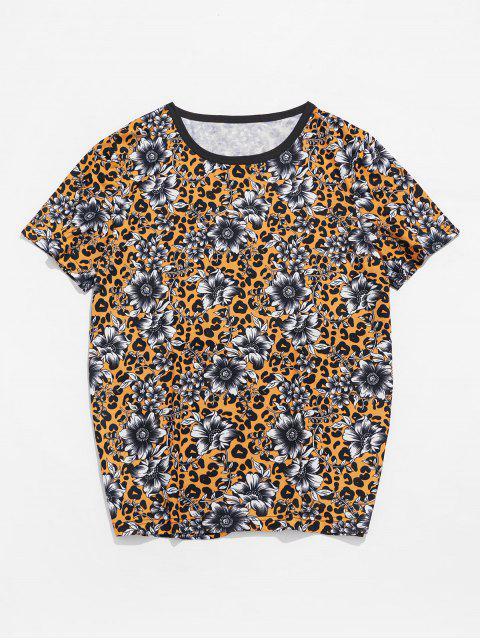 Leopard Floral Print Crew Neck T Shirt - Abelha Amarela L Mobile