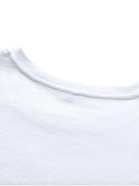 Camisa de Manga Curta de Impressão Gráfica com Colar Redondo - Branco 3XL Mobile