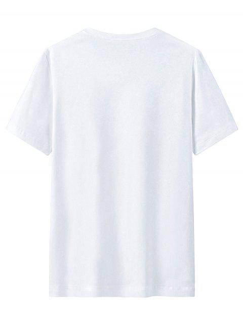 Camisa de Manga Curta de Impressão Gráfica com Colar Redondo - Branco 4XL Mobile